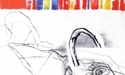 5 ouvertüre, 2006, Acryl, Tuschestift auf Papier / Collage, 100 x 150 cm