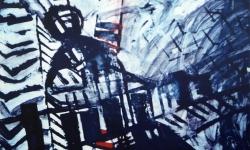 4 lang lang, 2007, Acryl auf Papier, 100 x 150 cm