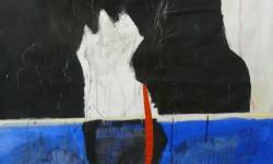 6 ostinato, 2006, Acryl auf Papier / Collage, 180 x 100 cm