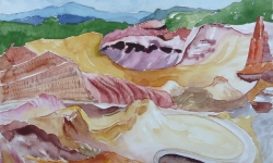3 ockerbruch roussillon, 50 x 70 cm, 1986