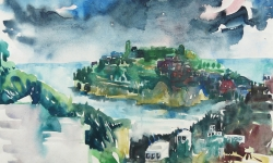 8 italienische landschaft, isola di ponza, 46 x 70 cm, 1976