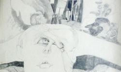 8 auf dem linken auge blind, Bleistift, 70 x 50 cm