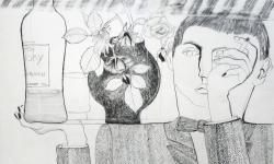 5 whisky!, 1966, Bleistift auf Papier, 50 x 70 cm