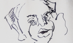 02 filmproduzent, 2018, Tuschestift auf grauem Papier, 30 x 30 cm