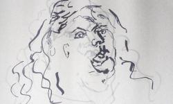 03 exzentriker, 2018, Tuschestift auf grauem Papier, 30 x 30 cm