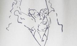 04 philosoph, 2018, Tuschestift auf grauem Papier, 30 x 30 cm