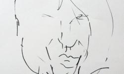 05 schriftstellerin, Tuschestift auf grauem Papier, 30 x 30 cm
