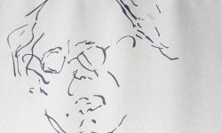 06 physiker, 2018, Tuschestift auf grauem Papier
