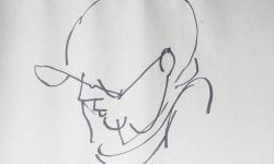 08 jura-prof, 2018, Tuschestift auf grauem Papier, 30 x 30 cm