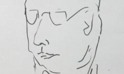 09 facharzt für psychiatrie, 2018, Tuschestift auf grauem Papier, 30 x 30 cm