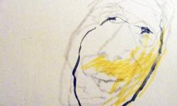 kopf 1, Blindzeichnung, Tuschestift auf getöntem Papier, 38 x 55 cm, 2012