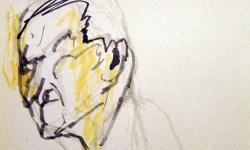 kopf 2, Blindzeichnung, Tuschestift auf getöntem Papier, 38 x 55 cm, 2012