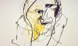 kopf 3, Blindzeichnung, Tuschestift auf getöntem Papier, 38 x 55 cm, 2012