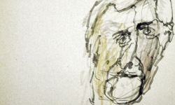 kopf 4, Blindzeichnung, Tuschestift auf getöntem Papier, 38 x 55 cm, 2012