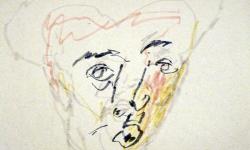 kopf 5, Blindzeichnung, Tuschestift auf getöntem Papier, 38 x 55 cm, 2012