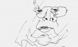 4 george im stress, 2011, Filzstift auf Papier, 21 x 21 cm