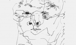 8 george konsterniert, Filzstift auf Papier, 21 x 21 cm