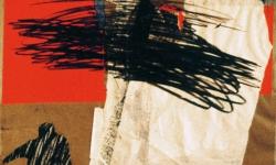 berlin I, 1993, Collage mit Ölkreide auf Karton, 70 x 50 cm