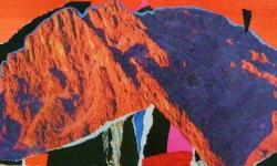 5 alpenglühen, 2011, Collage auf Pappe, 13 x 19 cm