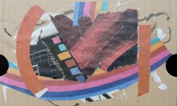 1 bürger(ver)schaukel, 2011, Collage über Acryl auf Wellpappe, 13 x 18 cm