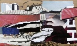 2 das händchen gottes, 2011, Collage mit Tuschestift und Acryl auf Packpapier, 13 x 18 cm