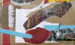 6 die verschiffung des täufers johannes vom jordan zur arche noah im gebirg, 2011, Collage mit Filzstift auf Packpapier, 13 x 18 cm