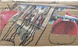 4 tizian mit apfel, 2011, Collage mit Filzstift auf Wellpappe, 13 x 18 cm