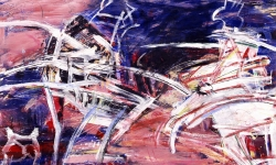 aggressione a siena, 1990, Acryl/Kreide auf Büttenkarton, 100 x 140 cm