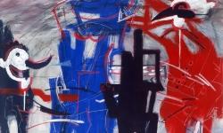 arlecchino e kikeriki, 1991, Acryl/Kreide auf Büttenkarton, 100 x 140 cm