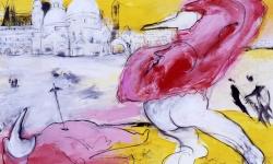 un assassinato a venezia, 1990, Acryl/Kreide auf Büttenkarton, 100 x 140 cm