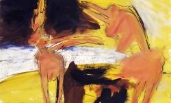 colombina e minotauro, 1990, Acryl/Kreide auf Büttenkarton, 100 x 140 cm