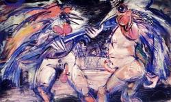 razzullo e cucurucu, 1990, Acryl/Kreide auf Büttenkarton, 100 x 140 cm
