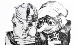 5 kleines monster mit pinocchio, 1964, Lithografie auf Bütten, 53,5 x 38 cm