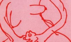4 spürbrüste, 2003, Tuschestift auf gefärbtem Papier, 21 x 15 cm