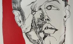2 rot geknöpft, 1966, Farblithografie auf Bütten, 70 x 50 cm