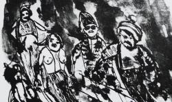 3 vor der lawine, 1964, sw-lithografie, 43 x 27 cm