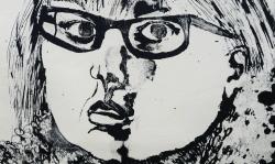5 selbst mit brille, 1964, sw-lithografie, 20 x 37 cm