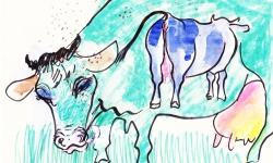 elsa + blaues anitchen, Werkgruppe GLÜCKLICHE RINDVIECHER, Osttirol 2002, Aquarell, Filz- und Tuschestifte auf getöntem Papier