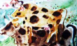 frieda auf brünhild, Werkgruppe GLÜCKLICHE RINDVIECHER, Osttirol 2002, Aquarell auf Papier