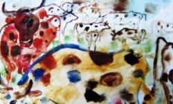 hanibal + mara + herde, Werkgruppe GLÜCKLICHE RINDVIECHER, Osttirol 2001, Aquarell, Filz- und Tuschestifte auf Papier