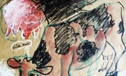 ida, beste milchkuh, Werkgruppe GLÜCKLICHE RINDVIECHER, Osttirol 2004, Aquarell auf Packpapier (Detail)