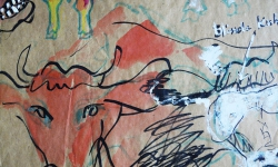kunigunde, frisch onduliert, Werkgruppe GLÜCKLICHE RINDVIECHER, Osttirol 2004, Aquarell auf Packpapier (Detail)