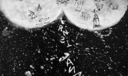 jandl 6: nachruhm, 2000 Acryl auf schwarz lackierter Hartfaser, 28 x 36 cm