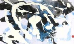 06 lucky skin, tanz der vampire II, 2013, Lackskin auf Bütten, 18 x 21 cm