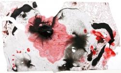 08 lucky skin, land des aufblühenden yen, 2013, Lackskin auf Bütten, 18 x 21 cm