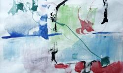 1 invasion der algen, 1987, Aquarell auf Papier, 13 x 19 cm