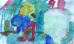 4 märchenstunde, 1987, Aquarell auf Papier, 13 x 19 cm