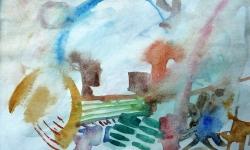 3 der morgen danach, 1987, Aquarell auf Papier, 13 x 19 cm