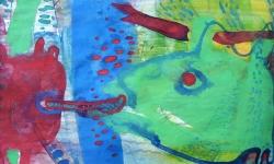 6 unterwasserflirt, 1987, Aquarell auf Papier, 13 x 19 cm