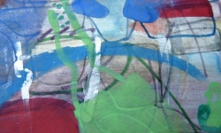 5 siesta am ufer, 1987, Aquarell auf Papier, 13 x 19 cm